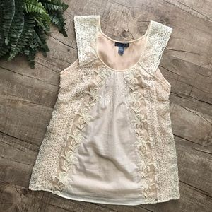 Anthropologie—Lil—Cream w/ Lace Top